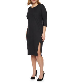 Plus Size Midi Dress with Side Slit - BLACK - 1390073371703