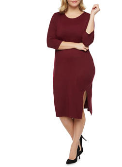 Plus Size Midi Dress with Side Slit - 1390073371703