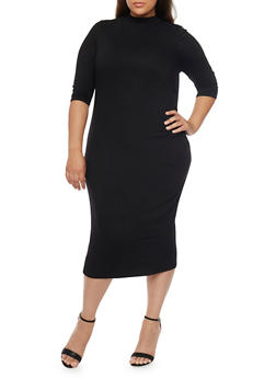 Plus Size Solid Mock Neck Midi Dress - BLACK - 1390073371711