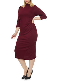 Plus Size Solid Mock Neck Midi Dress - 1390073371711