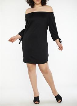 Plus Size Tie Sleeve Off the Shoulder Dress - BLACK - 1390073373610