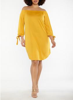 Plus Size Tie Sleeve Off the Shoulder Dress - 1390073373610