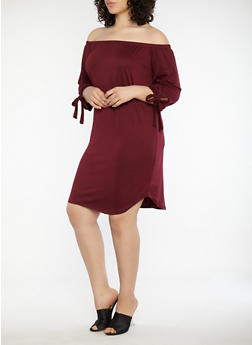 Plus Size Tie Sleeve Off the Shoulder Dress - 1390073373610
