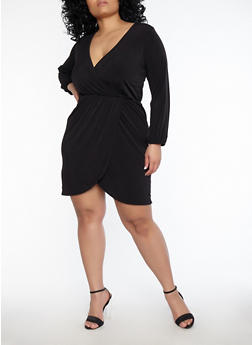 Plus Size Faux Wrap Dress - 1390074011034