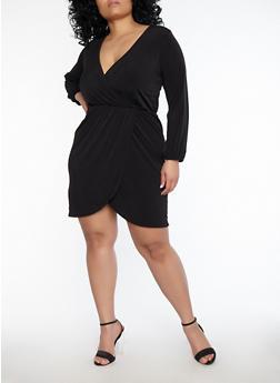 Plus Size Faux Wrap Dress - 1390074011034