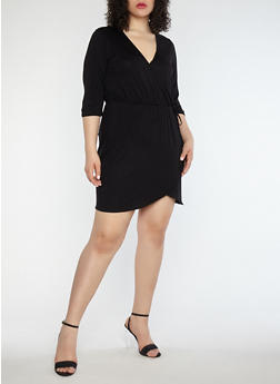 Plus Size Jersey Knit Faux Wrap Dress - 1390074011035