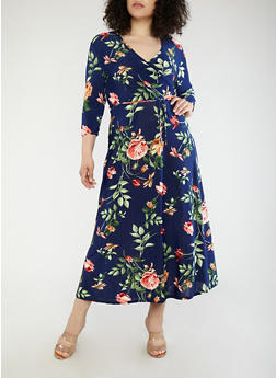 Plus Size Floral Faux Wrap Maxi Dress - 1390074012011
