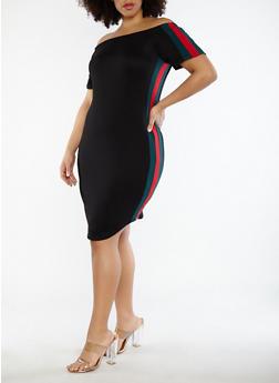 Plus Size Soft Knit Side Stripe Dress - 1390074012020