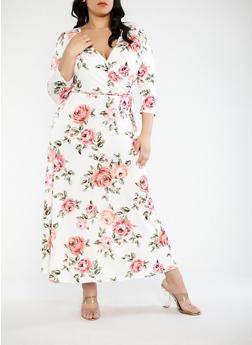 Plus Size Printed Faux Wrap Maxi Dress - 1390074014009