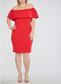 Plus Size Textured Knit Off the Shoulder Bodycon Dress - 1390074014043