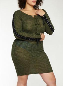 Plus Size Rib Knit Lace Up Sleeve Dress - 1390074280013