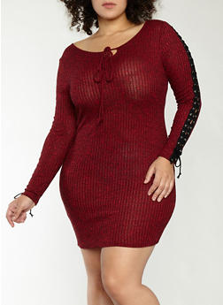 Plus Size Rib Knit Lace Up Sleeve Dress - 1390074280013