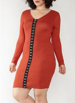 Plus Size Rib Knit Hook Front Dress - 1390074280017