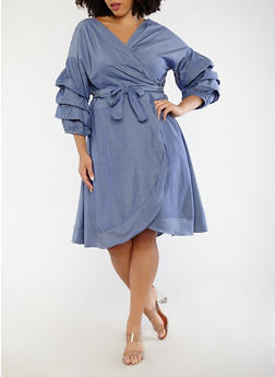 Plus Size Tie Front Chambray Dress - 1390074280158