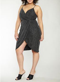 Plus Size Glitter Knit Faux Wrap Dress - 1390074281701