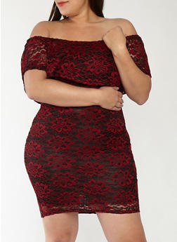 Plus Size Off the Shoulder Two Tone Lace Dress - 1390074282013