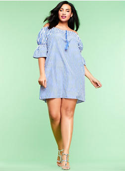 Plus Size Striped Off the Shoulder Dress - 1390074287725