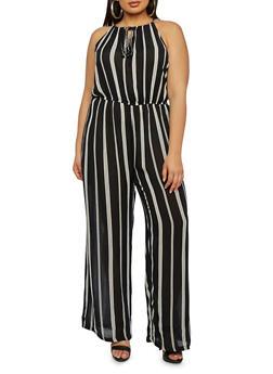 Plus Size Sleeveless Striped Jumpsuit - 1392038347310