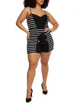Plus Size Striped Sailor Button Romper - BLACK/WHITE - 1392038347870
