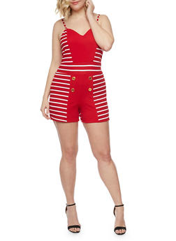 Plus Size Striped Sailor Button Romper - RED - 1392038347870