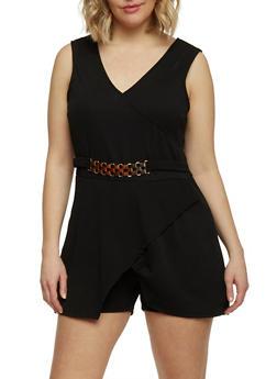 Plus Size Soft Knit Asymmetrical Hem Romper with Chain Accent - 1392038347972