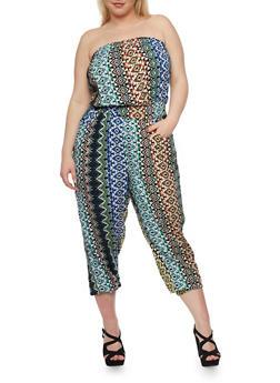 Plus Size Printed Strapless Capri Jumpsuit - 1392038348302