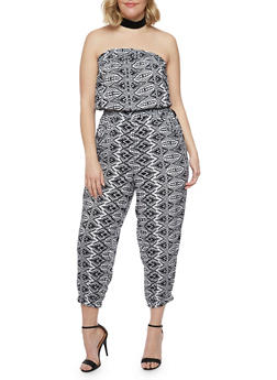 Plus Size Strapless Printed Capri Jumpsuit - 1392038348304