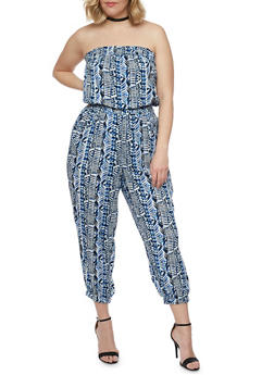 Plus Size Printed Strapless Jumpsuit  with Smocked Waist - 1392038348306