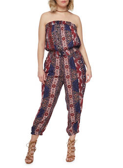 Plus Size Strapless Printed Jumpsuit with Smocked Waist - 1392038348307