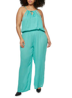 Plus Size Guaze Knit Embroidered Jumpsuit - JADE - 1392038348321