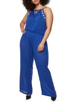 Plus Size Guaze Knit Embroidered Jumpsuit - 1392038348321