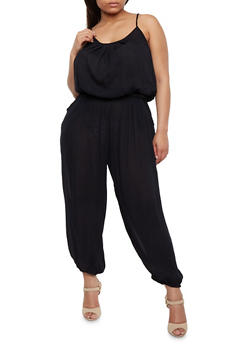 Plus Size Solid Belted Jumpsuit - BLACK - 1392038348322