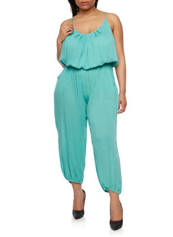 Plus Size Solid Belted Jumpsuit - JADE - 1392038348322