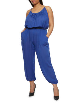 Plus Size Solid Belted Jumpsuit - RYL BLUE - 1392038348322