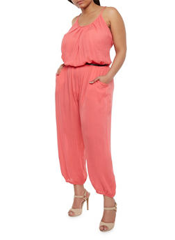 Plus Size Solid Belted Jumpsuit - CORAL - 1392038348322