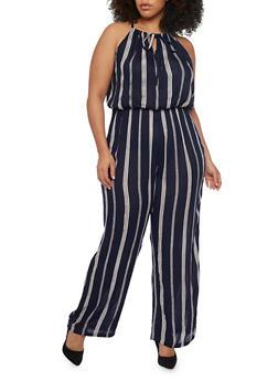Plus Size Striped Wide Leg Jumpsuit with Drawstring Keyhole Neckline Detail - NAVY - 1392038348323