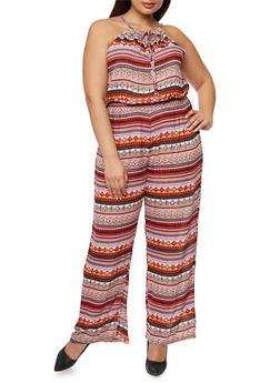Plus Size Printed Halter Neck Jumpsuit - 1392038348324