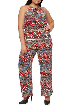 Plus Size Printed Halter Neck Jumpsuit - RUST - 1392038348324