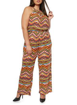 Plus Size Printed Halter Neck Jumpsuit - BLUE - 1392038348324