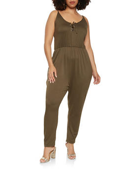 Plus Size Soft Knit Lace Up Jumpsuit - 1392038348825