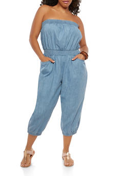 Plus Size Strapless Smocked Denim Jumpsuit - 1392038349313