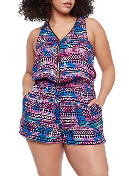 Plus Size Printed Sleeveless Zip Front Romper - BLACK - 1392051060509