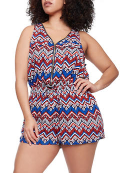 Plus Size Printed Sleeveless Zip Front Romper - BLUE - 1392051060509