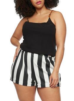 Plus Size Stripe Short Romper - BLACK - 1392051060660