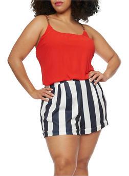 Plus Size Stripe Short Romper - 1392051060660