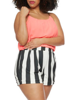 Plus Size Stripe Short Romper - 1392051060660