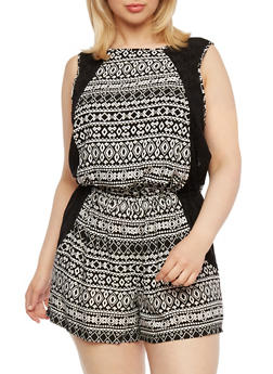 Plus Size Printed Romper with Lace Side Panels - 1392051060679