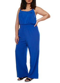 Plus Size Sleeveless Jumpsuit with Chest Pockets - 1392051060734