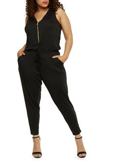 Plus Size Brushed Knit Zip Jumpsuit - BLACK - 1392051060846