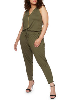 Plus Size Brushed Knit Zip Jumpsuit - OLIVE - 1392051060846